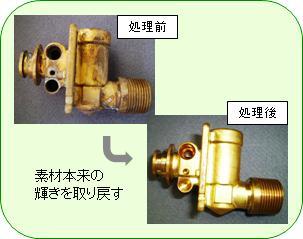 銅製バルブ部品加工後のシミ除去に